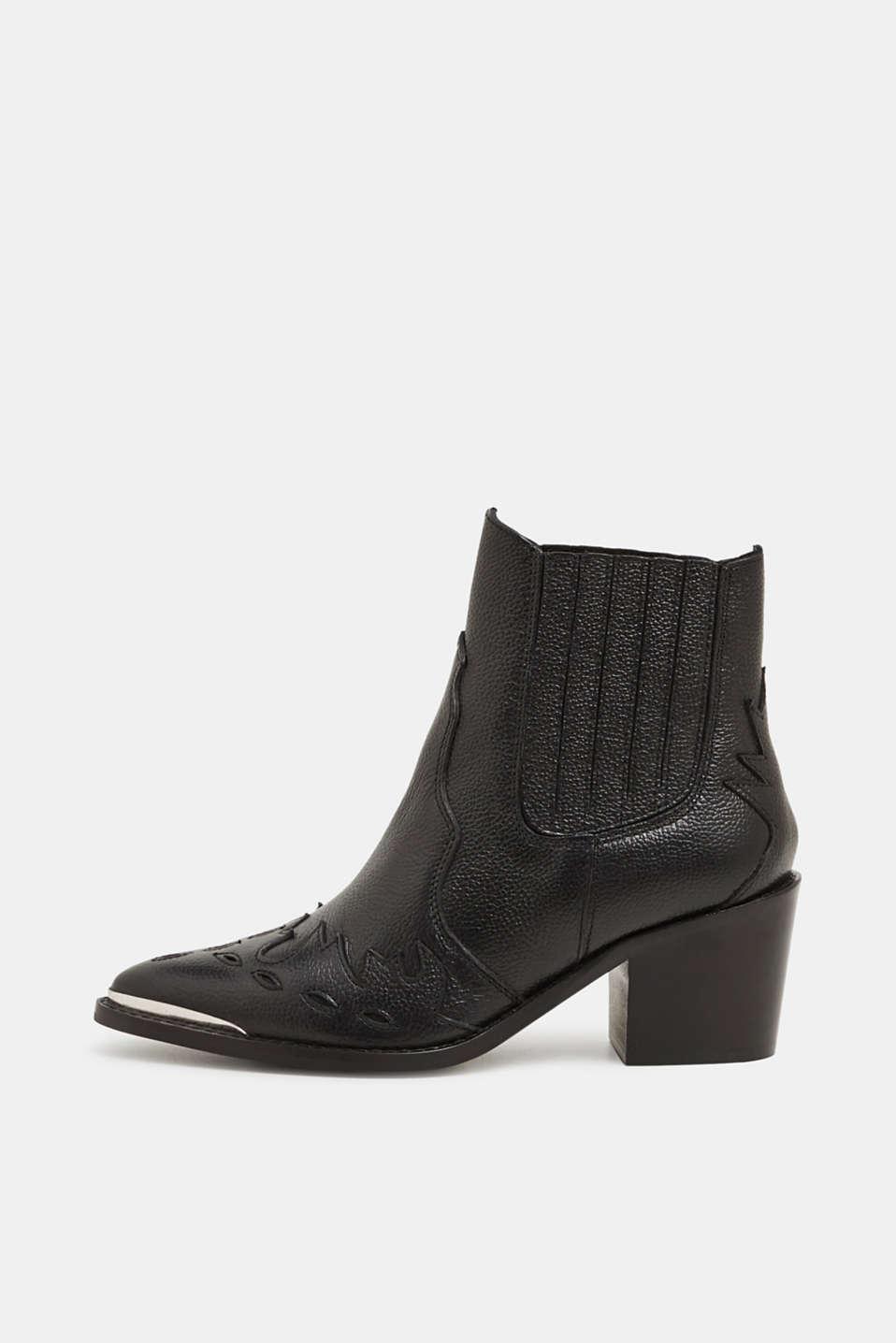 Embellished, leather cowboy boots, BLACK, detail image number 0