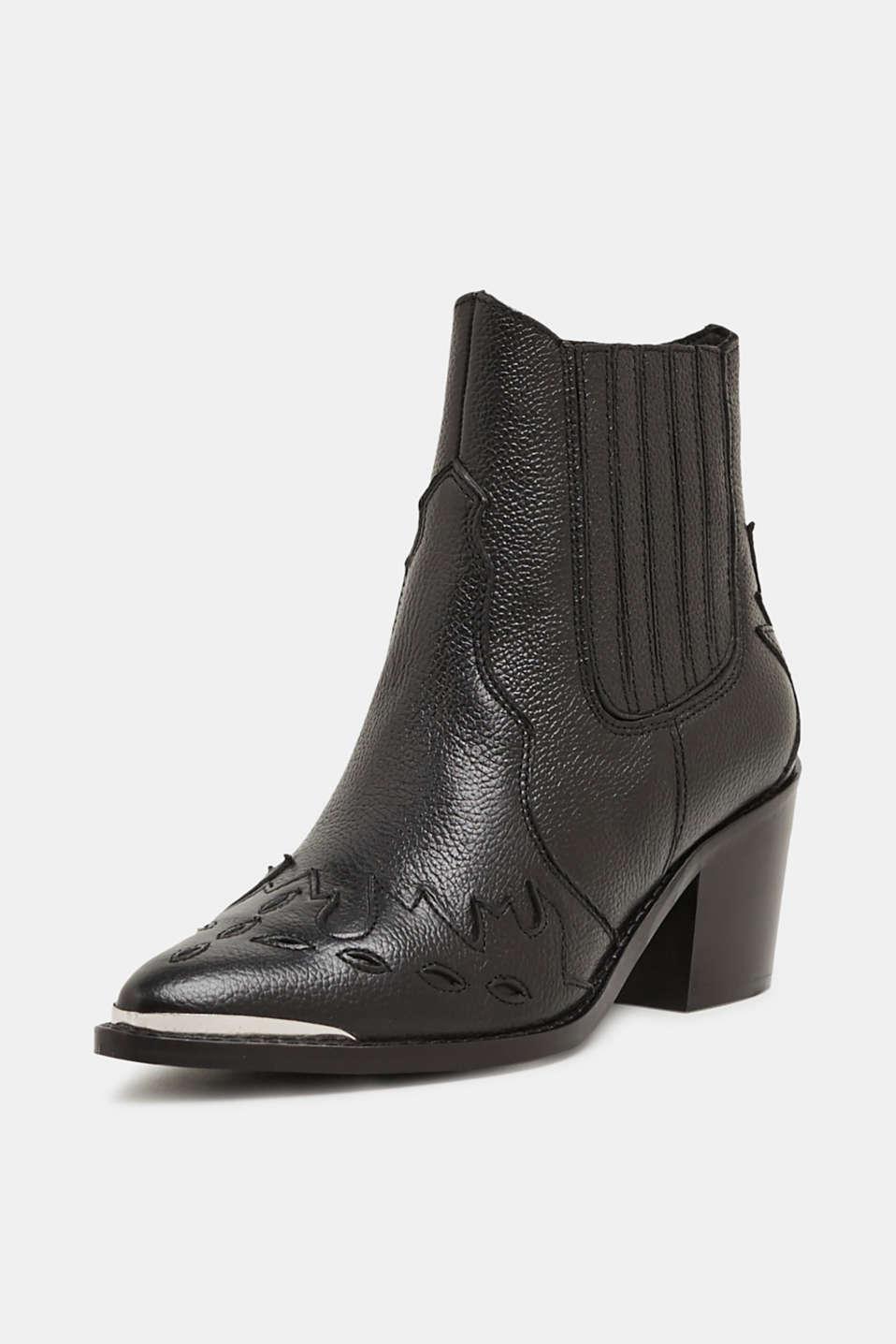 Embellished, leather cowboy boots, BLACK, detail image number 2
