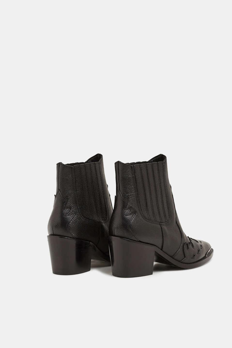 Embellished, leather cowboy boots, BLACK, detail image number 5