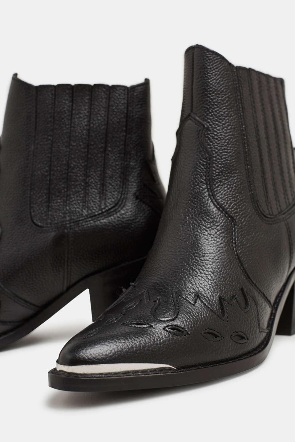Embellished, leather cowboy boots, BLACK, detail image number 4