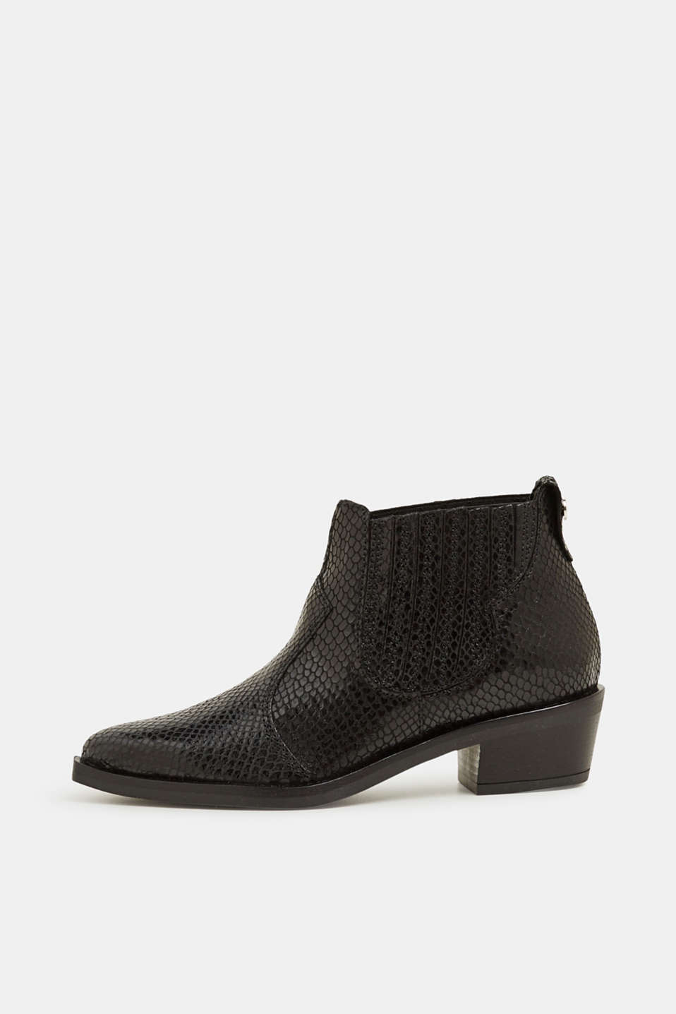Esprit - Made of leather: cowboy boots with a textured, snakeskin pattern