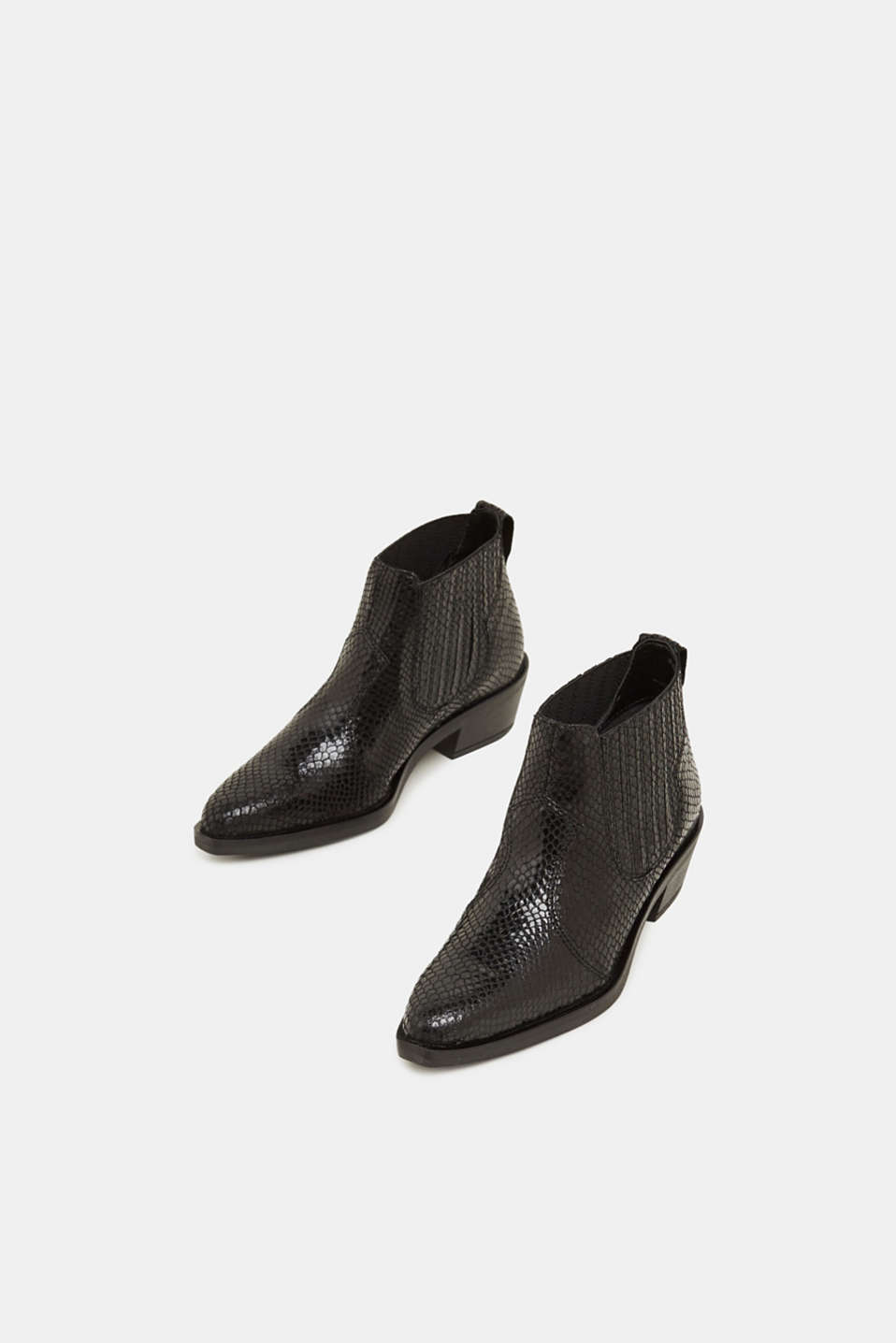 Snakeskin effect cowboy boots made of leather, BLACK, detail image number 1