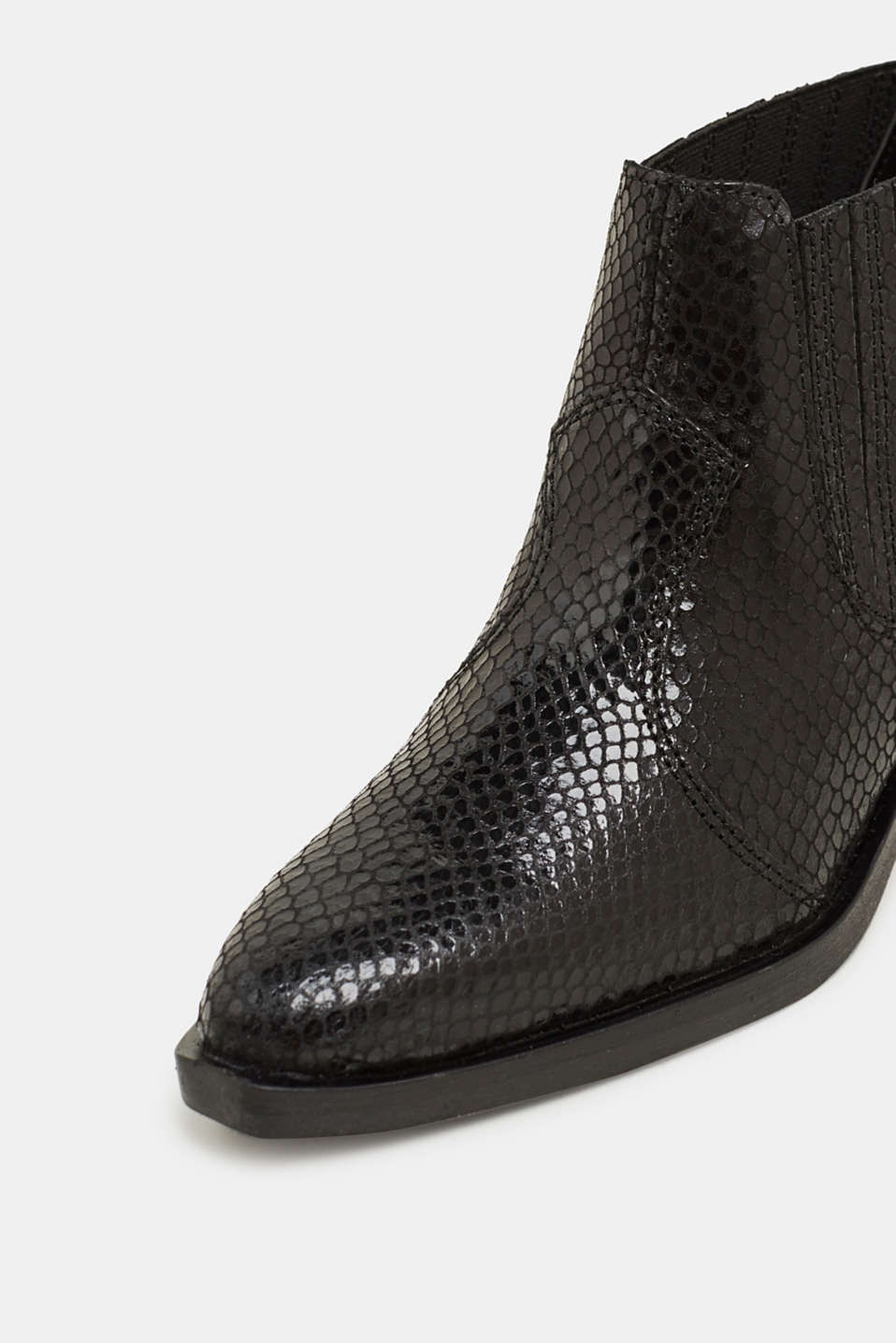 Snakeskin effect cowboy boots made of leather, BLACK, detail image number 4