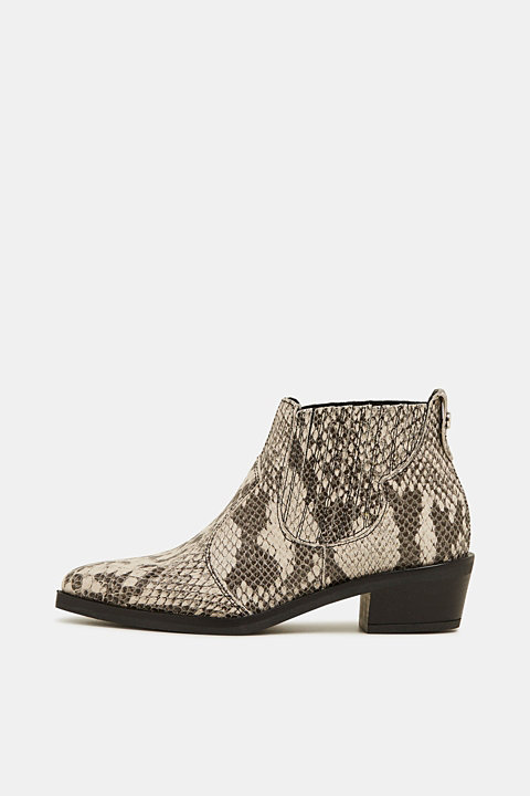 Snakeskin effect cowboy boots made of leather