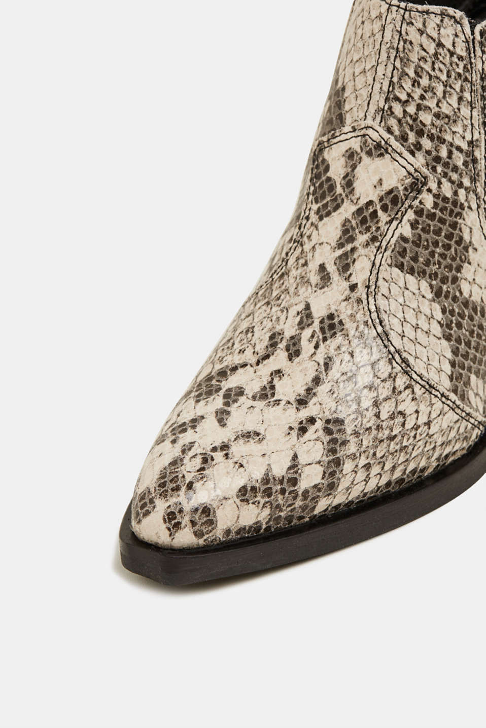 Snakeskin effect cowboy boots made of leather, GREY, detail image number 1