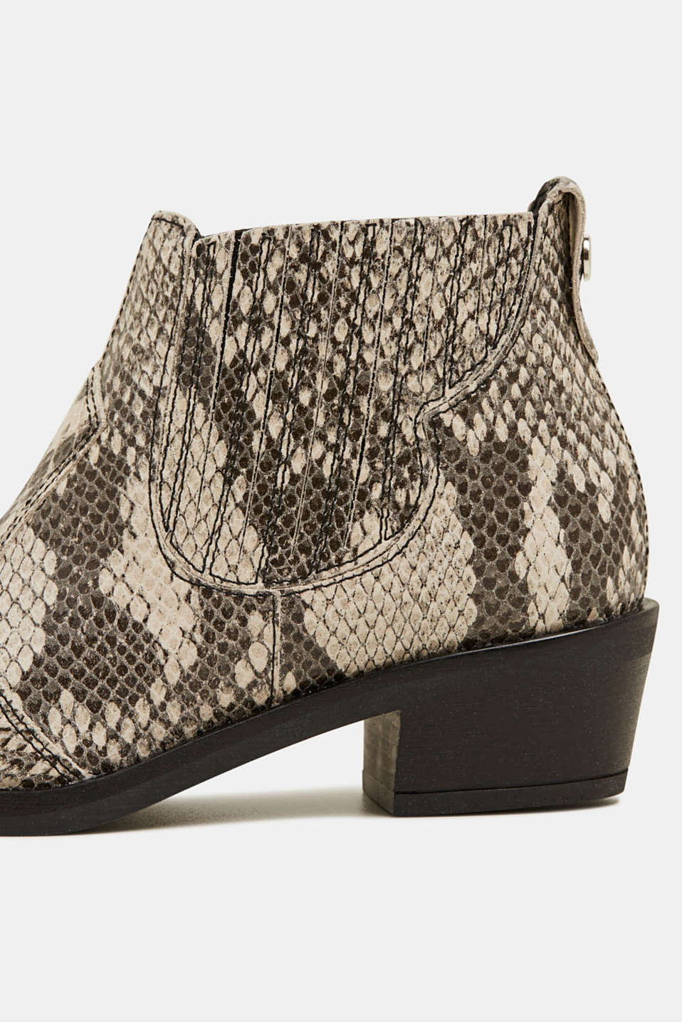 Snakeskin effect cowboy boots made of leather, GREY, detail image number 4