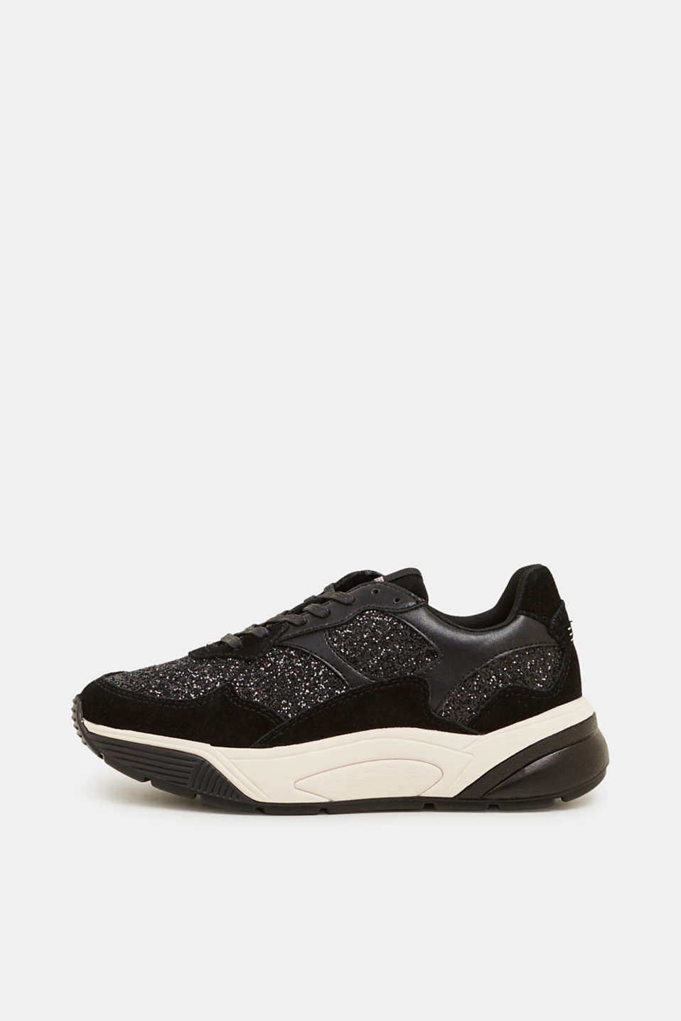 With leather: Trainers in a glitter look, BLACK, detail image number 0
