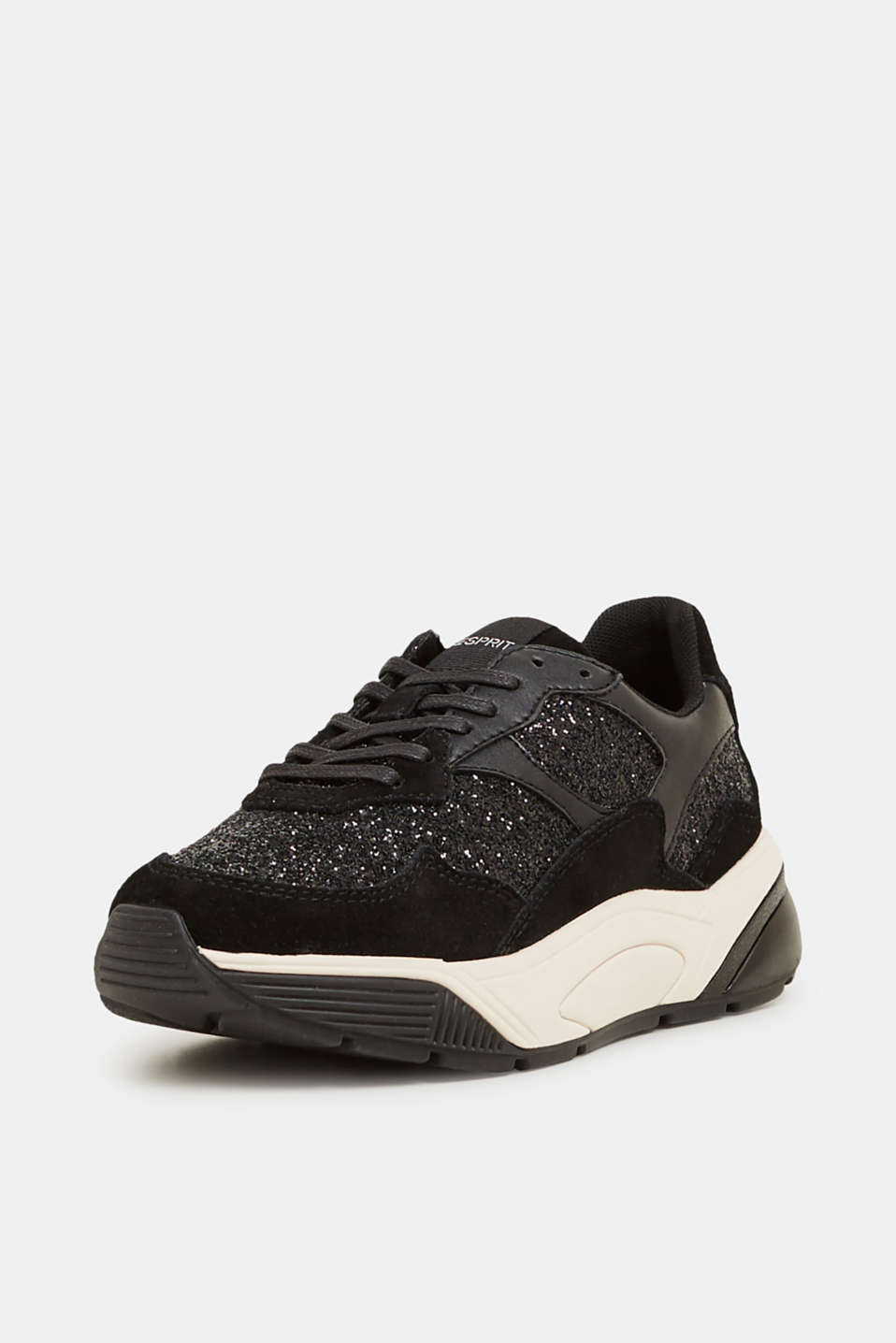 With leather: Trainers in a glitter look, BLACK, detail image number 1
