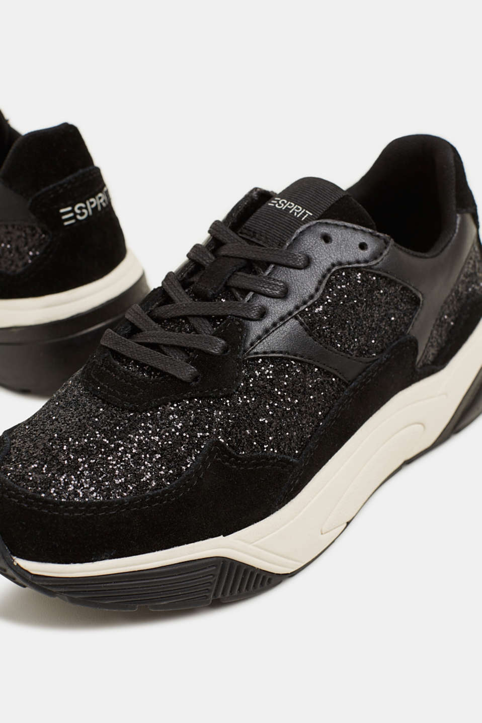 With leather: Trainers in a glitter look, BLACK, detail image number 3