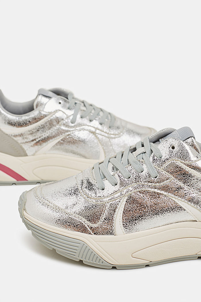 Shiny vegan trainers, SILVER, detail image number 3