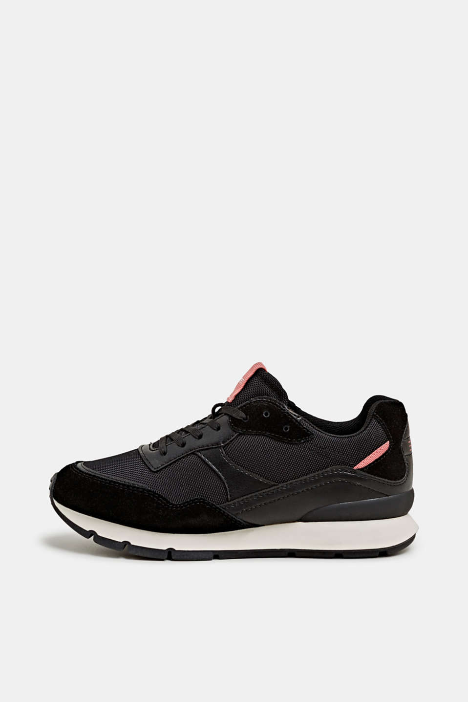 Mixed material trainers with leather details, BLACK, detail image number 0