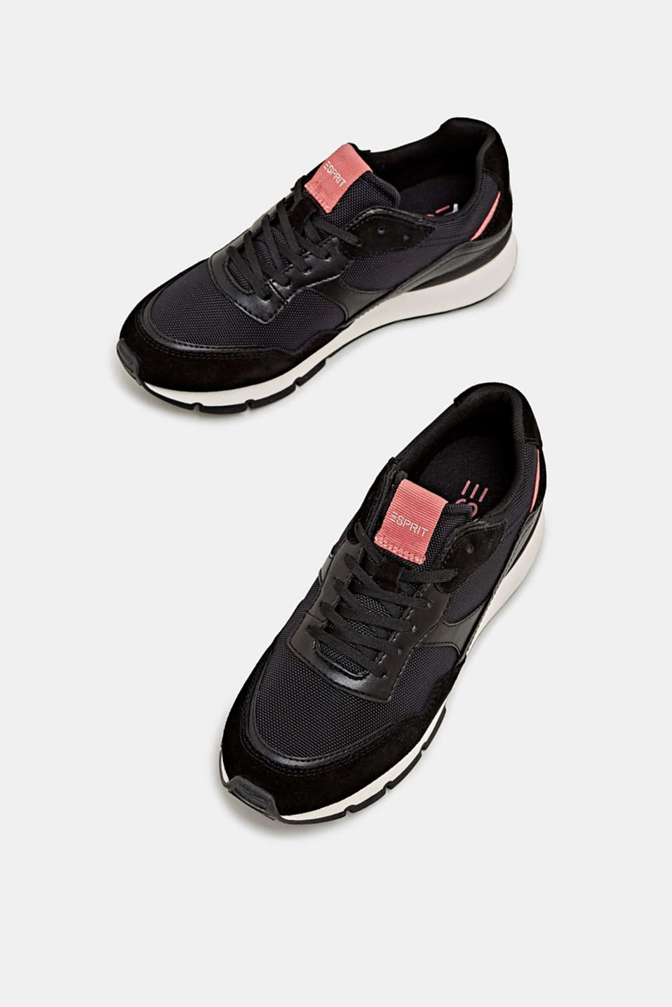 Mixed material trainers with leather details, BLACK, detail image number 1