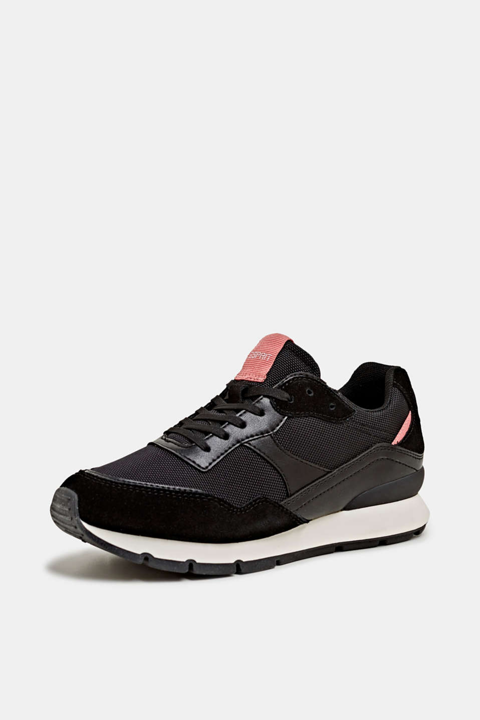 Mixed material trainers with leather details, BLACK, detail image number 2