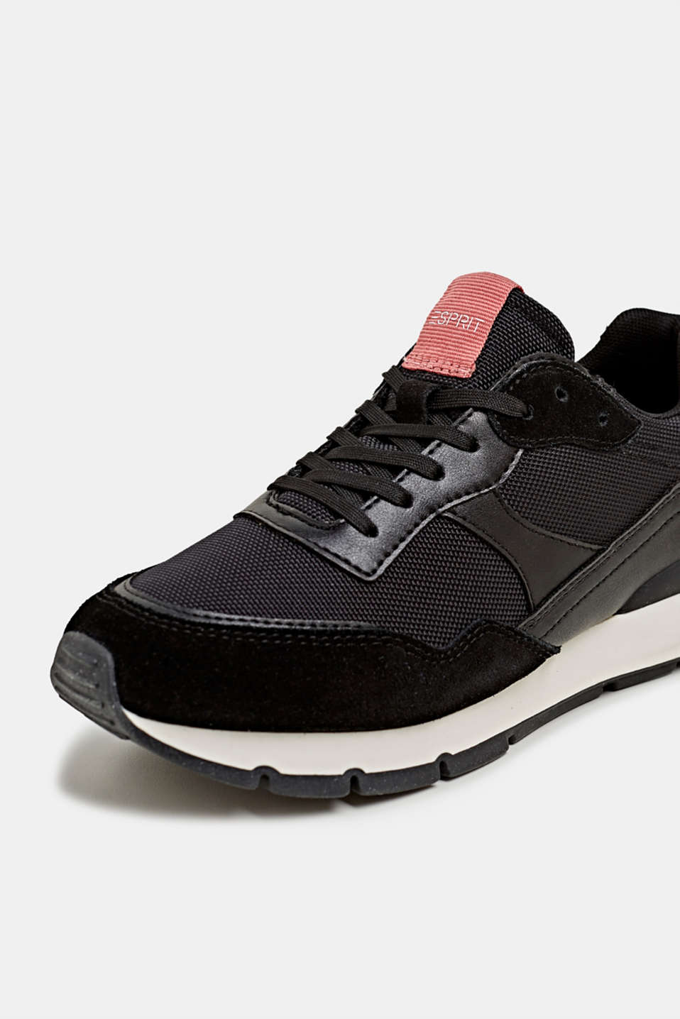Mixed material trainers with leather details, BLACK, detail image number 4