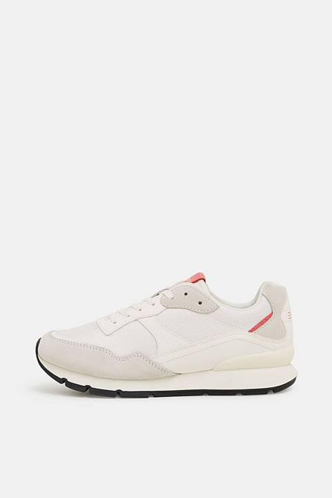 Mixed material trainers with leather details