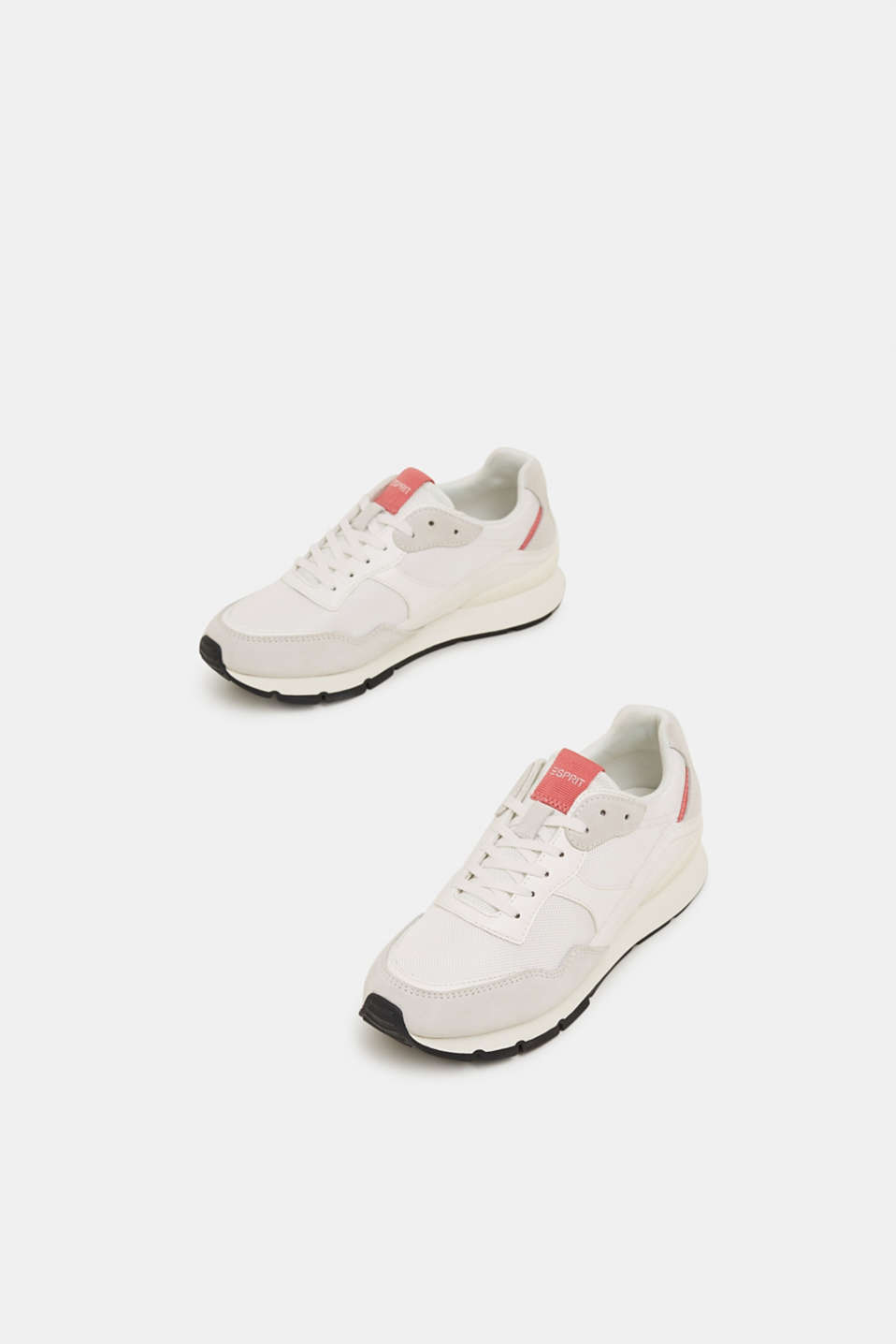 Mixed material trainers with leather details, WHITE, detail image number 1