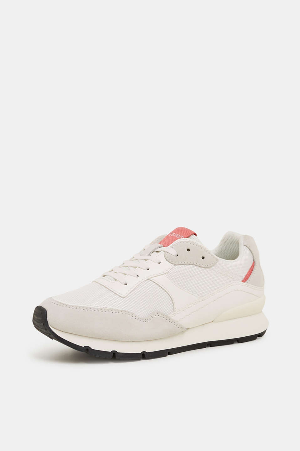 Mixed material trainers with leather details, WHITE, detail image number 2