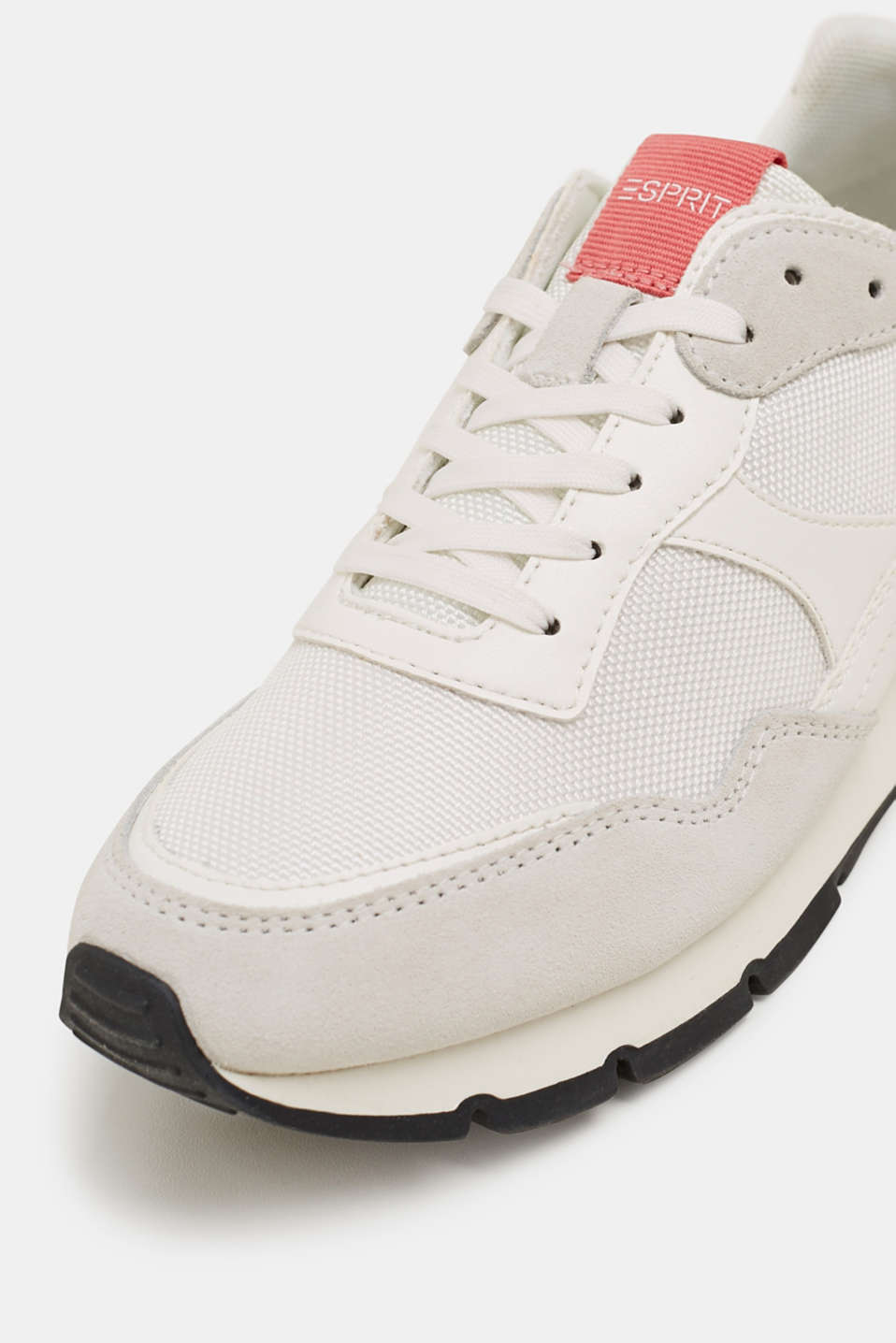 Mixed material trainers with leather details, WHITE, detail image number 4