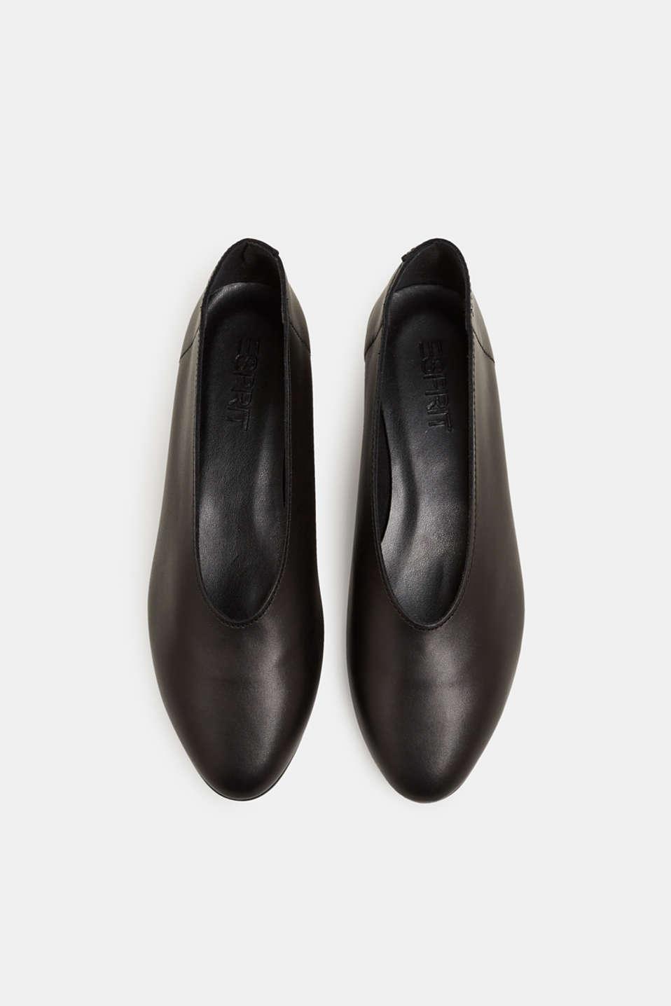 Leather ballerinas, BLACK, detail image number 1