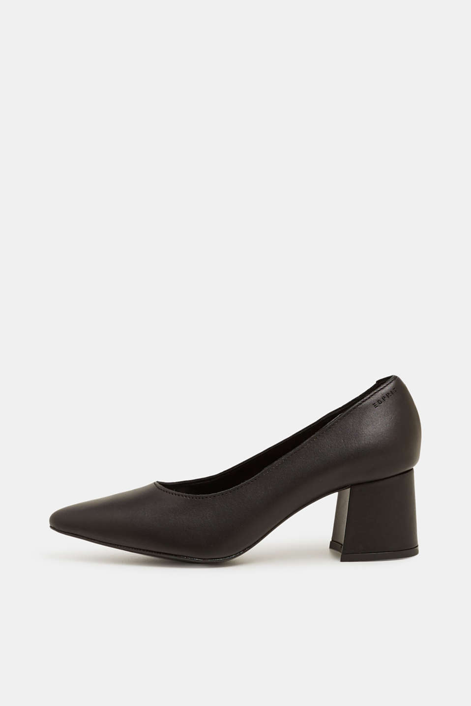 Court shoe with block heel, made of leather, BLACK, detail image number 0