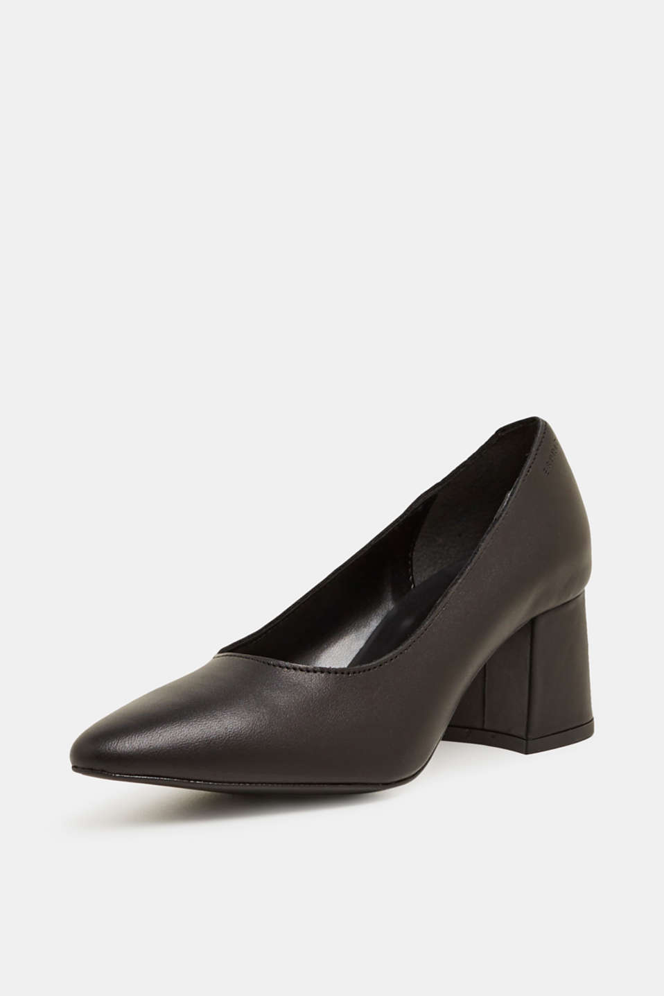 Court shoe with block heel, made of leather, BLACK, detail image number 1
