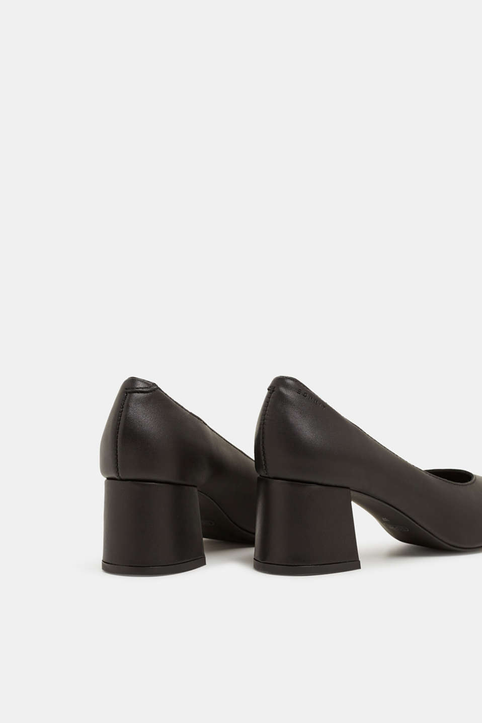 Court shoe with block heel, made of leather, BLACK, detail image number 4