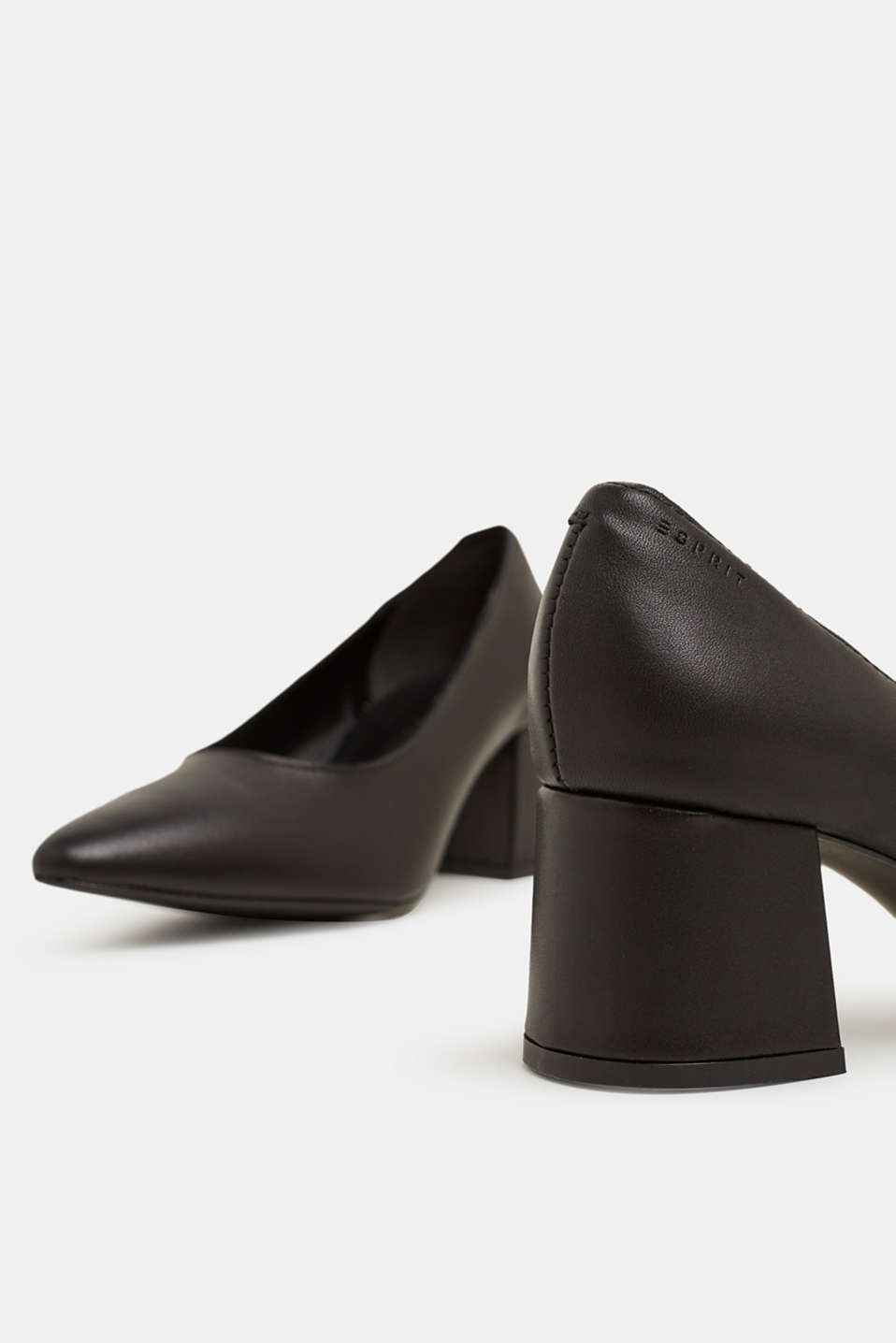 Court shoe with block heel, made of leather, BLACK, detail image number 3