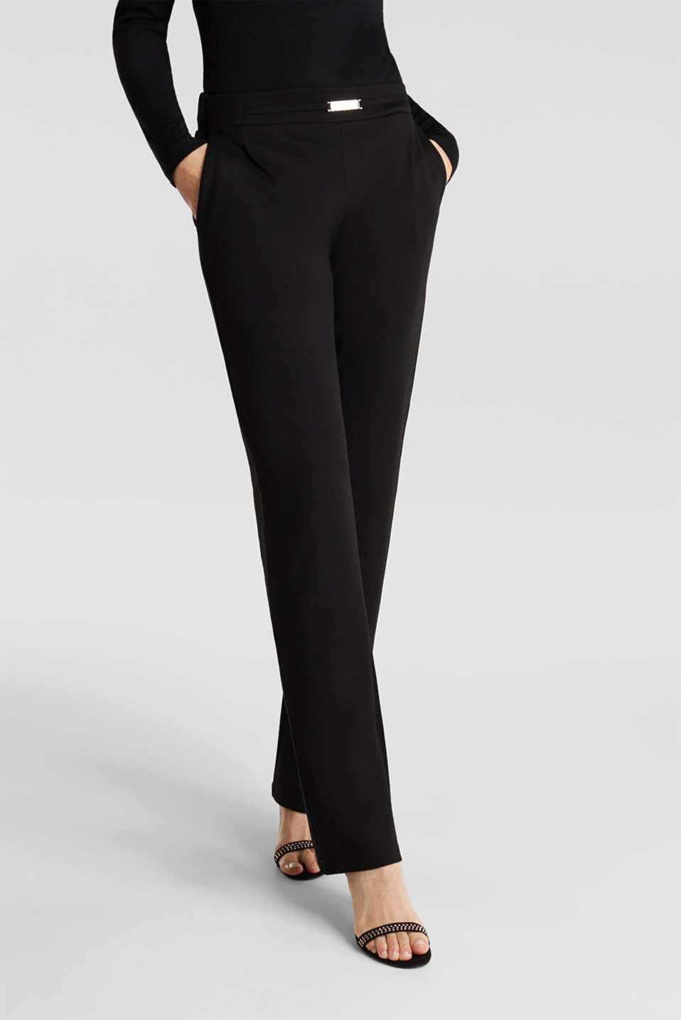 Wide jersey trousers with a twill texture