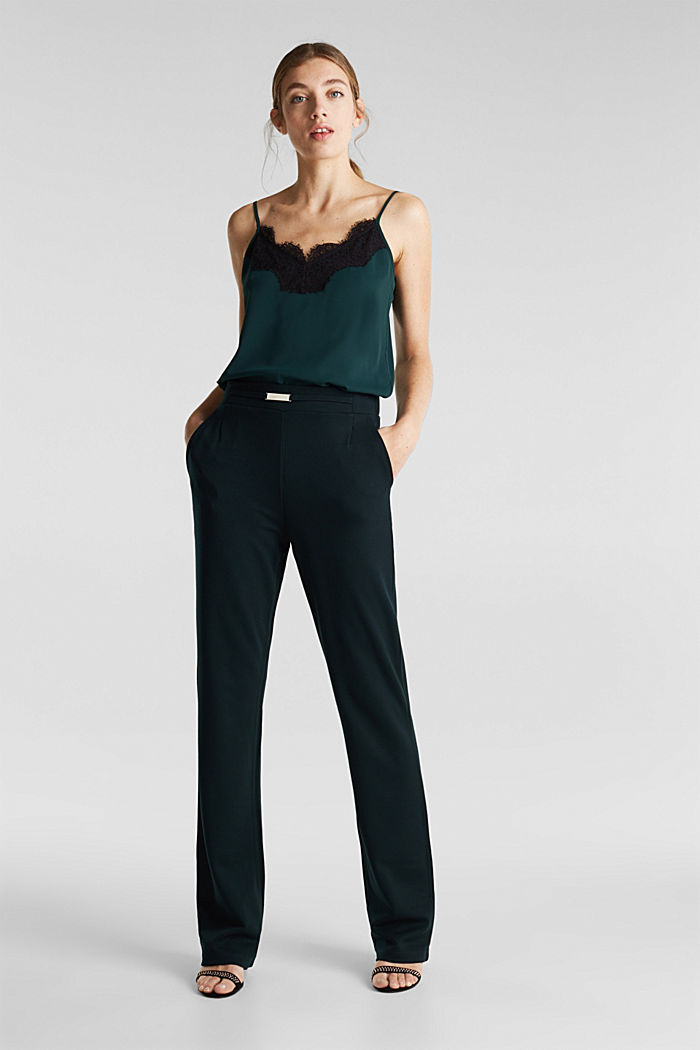 Wide jersey trousers with a twill texture, DARK TEAL GREEN, detail image number 0