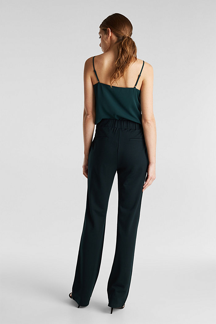 Wide jersey trousers with a twill texture, DARK TEAL GREEN, detail image number 3