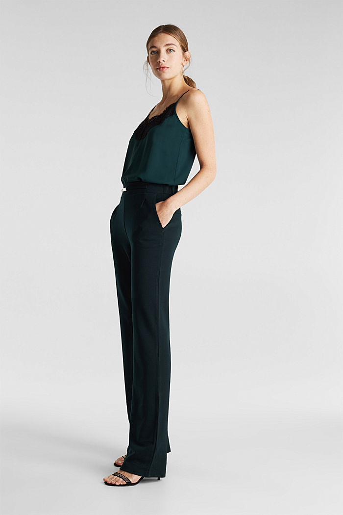 Wide jersey trousers with a twill texture, DARK TEAL GREEN, detail image number 5
