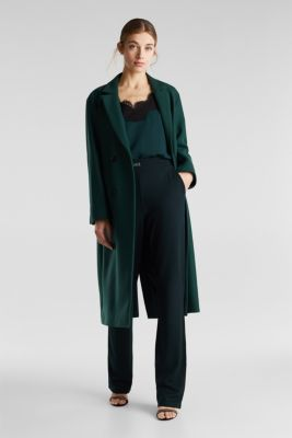 Wide jersey trousers with a twill texture, DARK TEAL GREEN, detail