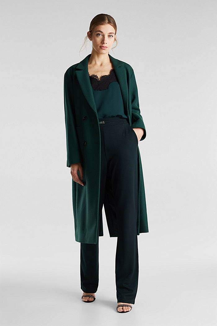 Wide jersey trousers with a twill texture, DARK TEAL GREEN, detail image number 1