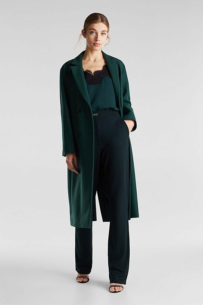 Weite Jersey-Hose mit Twill-Struktur, DARK TEAL GREEN, detail image number 1