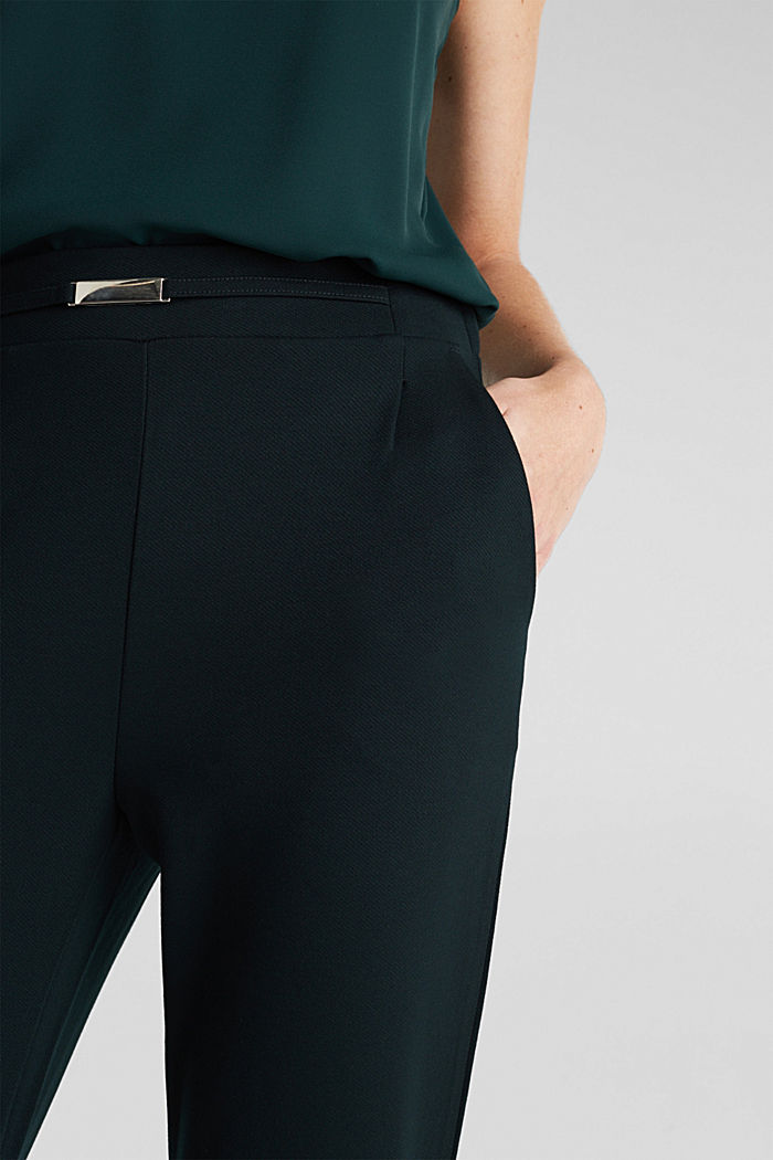 Wide jersey trousers with a twill texture, DARK TEAL GREEN, detail image number 2