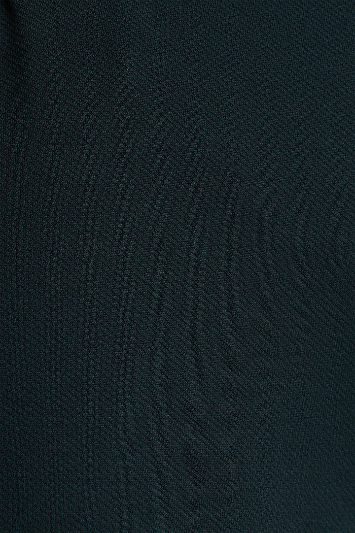 Wide jersey trousers with a twill texture, DARK TEAL GREEN, detail image number 4