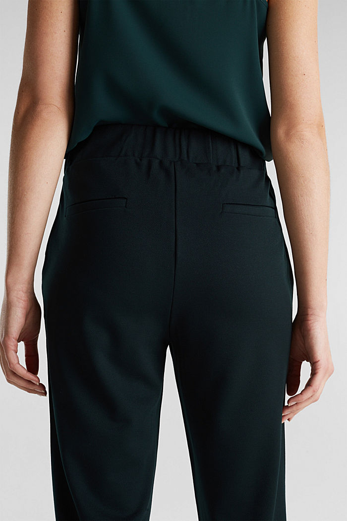 Wide jersey trousers with a twill texture, DARK TEAL GREEN, detail image number 6