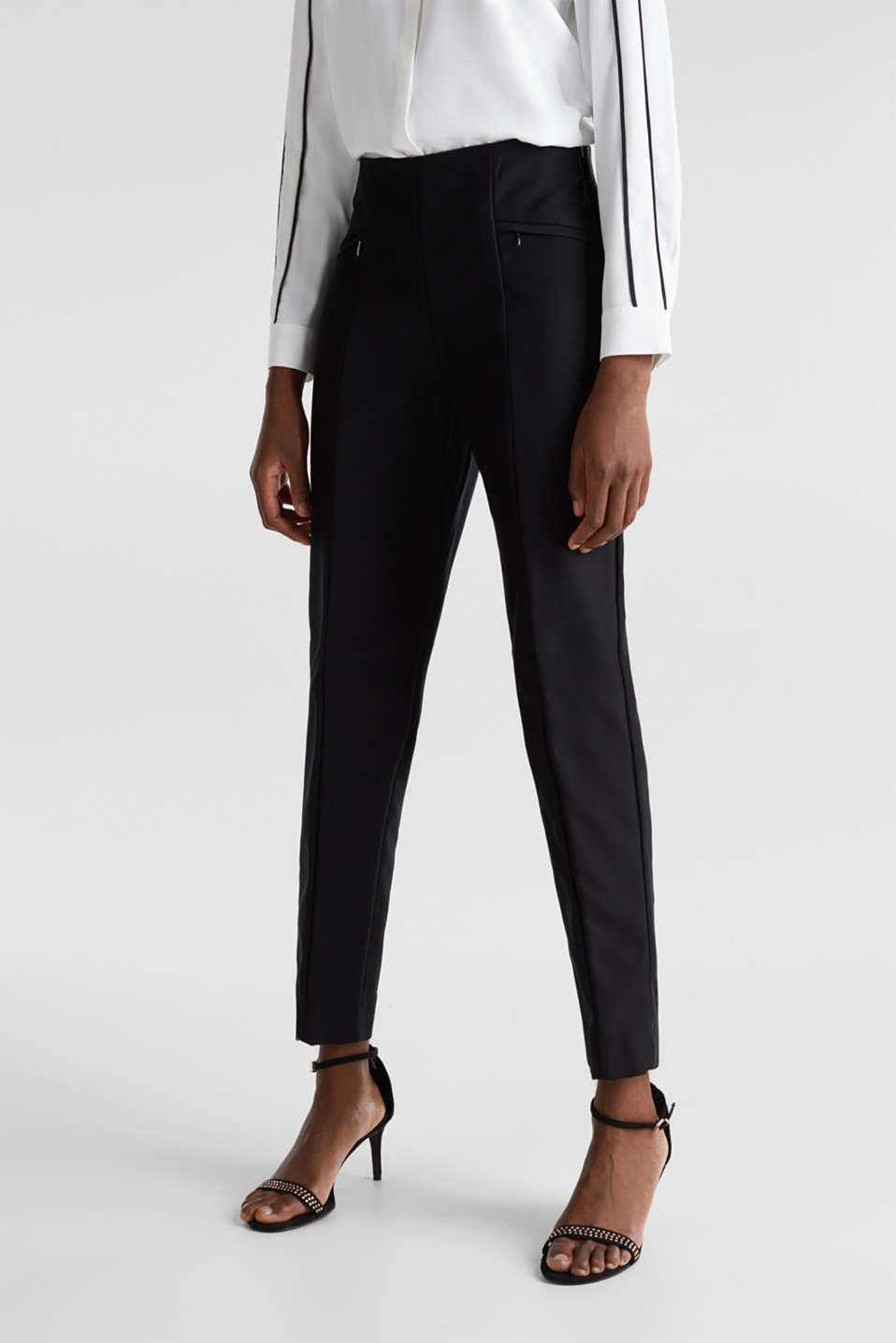 Ankle-length cigarette trousers, BLACK, detail image number 0