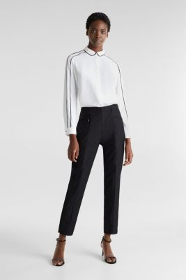 Ankle-length cigarette trousers, BLACK, detail
