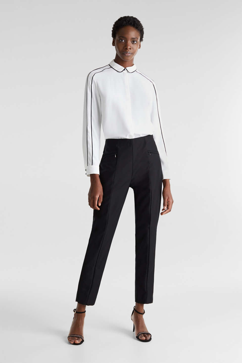 Ankle-length cigarette trousers, BLACK, detail image number 1