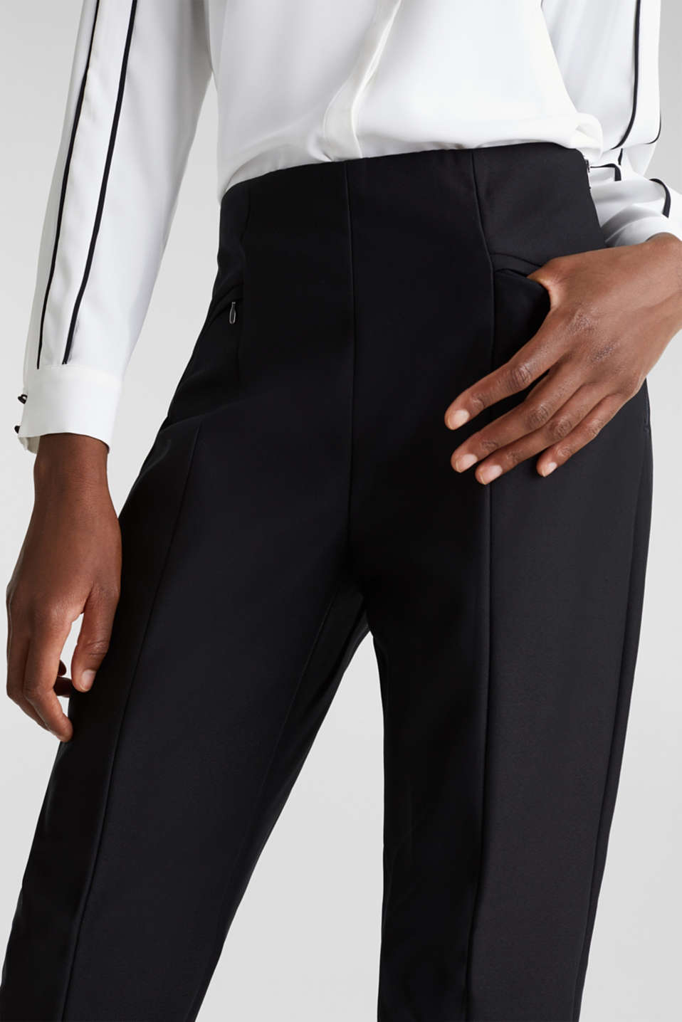 Ankle-length cigarette trousers, BLACK, detail image number 2