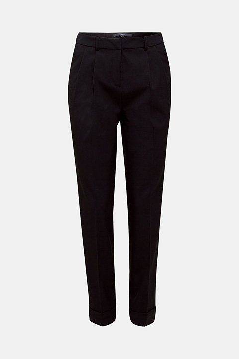 Stretch trousers with satin piping