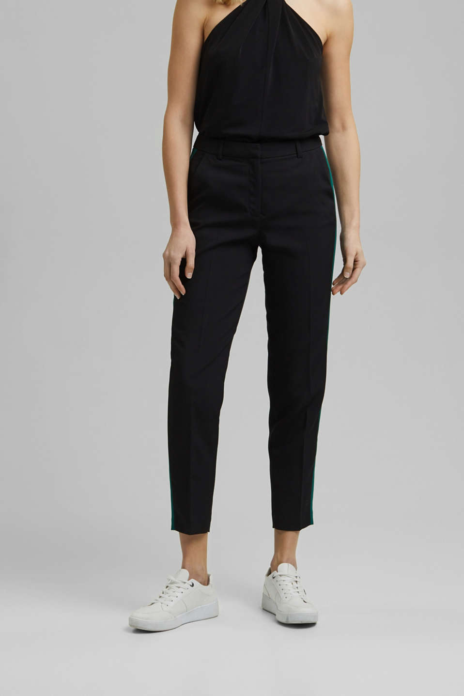 Esprit - TUXEDO STRIPE mix + match stretch trousers
