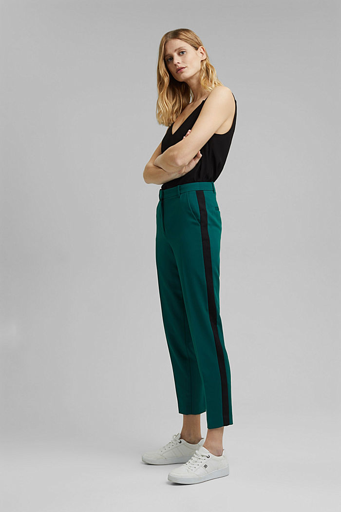 GALONSTRIPE Mix + Match: strečové kalhoty, BOTTLE GREEN, detail image number 1