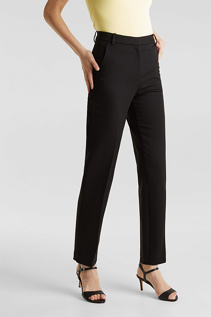 Stretch trousers with pressed pleats, BLACK, detail image number 6