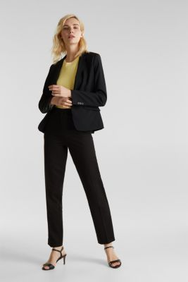 Stretch trousers with pressed pleats, BLACK, detail