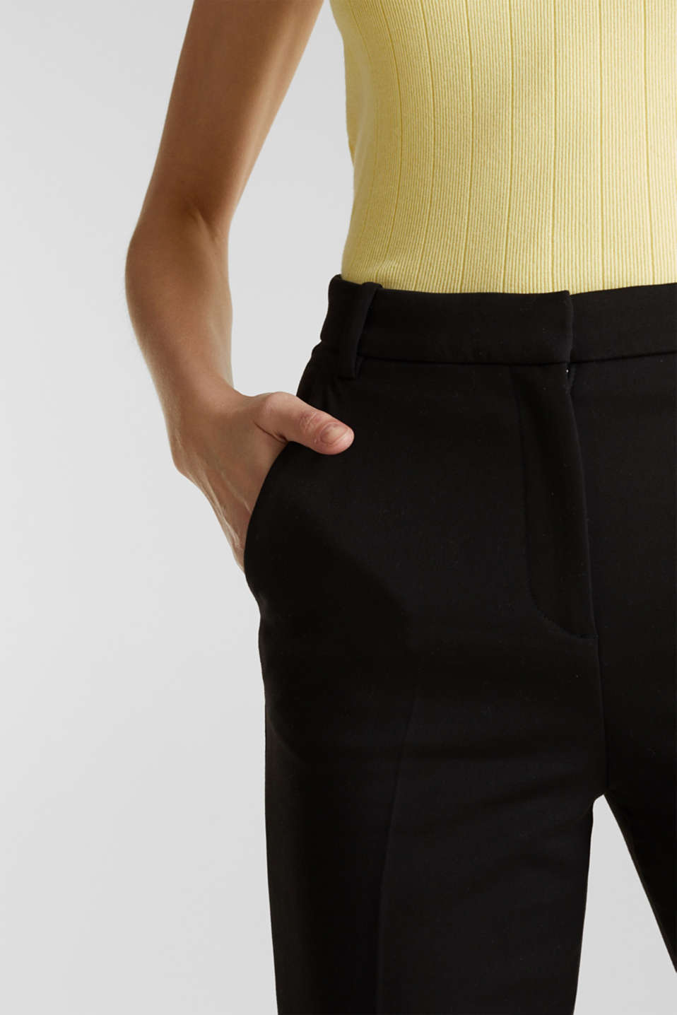 Stretch trousers with pressed pleats, BLACK, detail image number 2