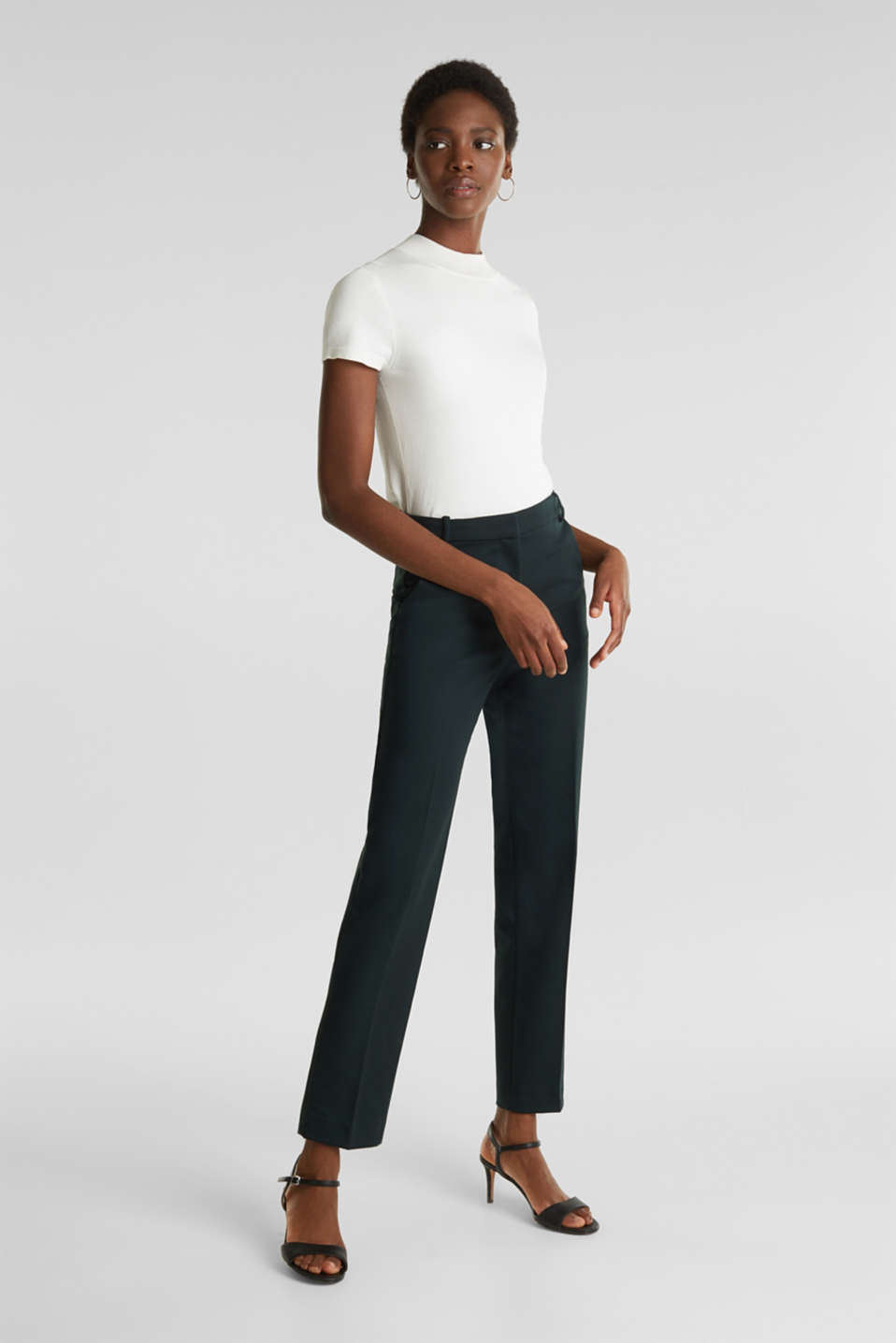 Esprit - Stretch trousers with pressed pleats