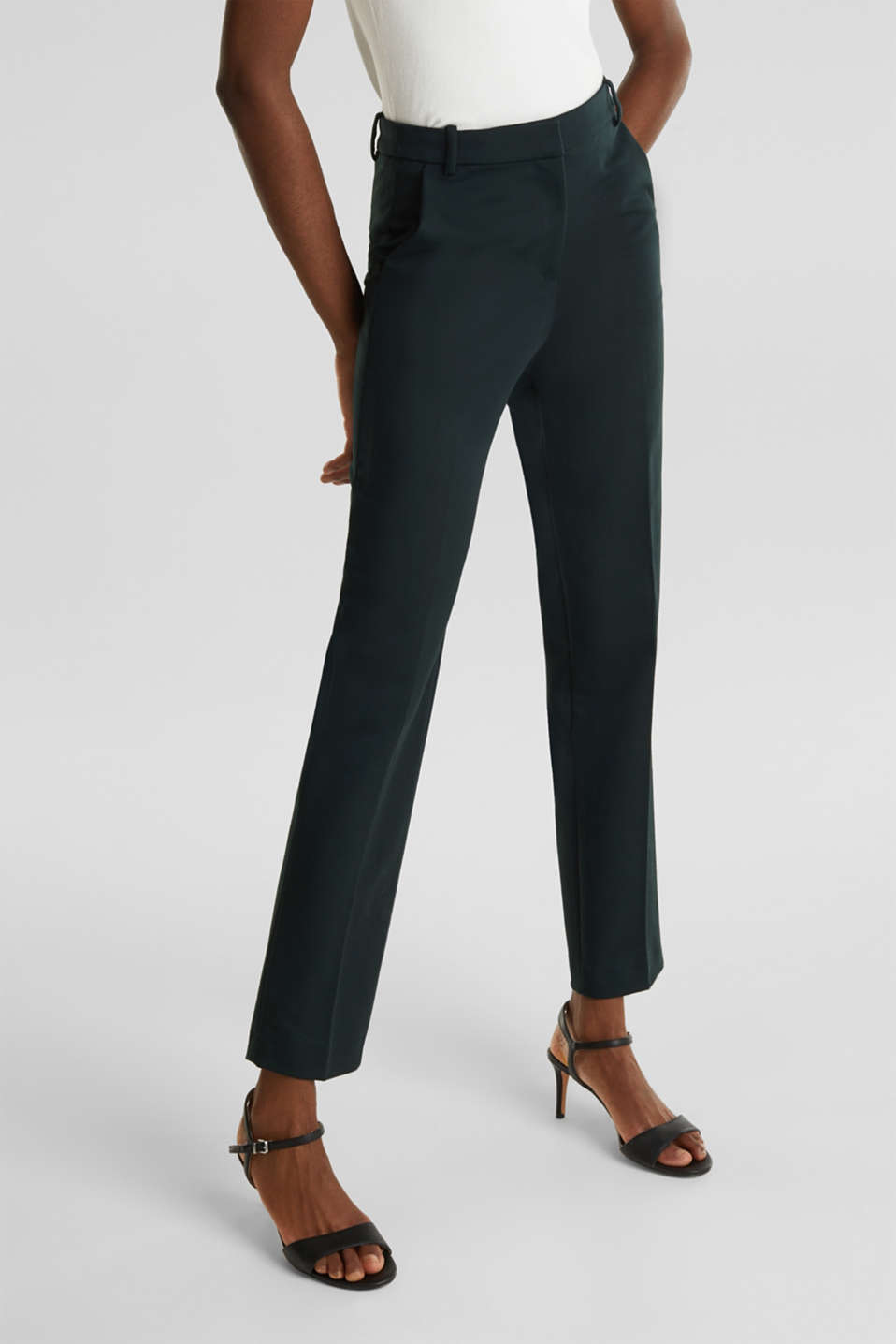 Stretch trousers with pressed pleats, DARK TEAL GREEN, detail image number 7
