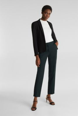 Stretch trousers with pressed pleats, DARK TEAL GREEN, detail